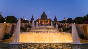 The magic fountain of montjuic in barcelona Royalty Free Stock Photography