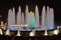 Magic Fountain of Montjuic. Light sources Montjuic, built by Carles Buigas for the Universal Exhibition of 1926, held in Barcelona Royalty Free Stock Photos