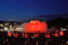 Magic Fountain of Montjuic. Light sources Montjuic, built by Carles Buigas for the Universal Exhibition of 1926, held in Barcelona Royalty Free Stock Photo