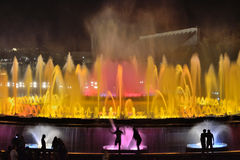 Magic Fountain of Montjuic. Light sources Montjuic, built by Carles Buigas for the Universal Exhibition of 1926, held in Barcelona Stock Photo
