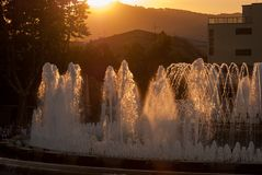 Magic Fountain of Montjuic at sunset. Barcelona. Spain stock photo