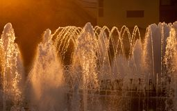 Magic Fountain of Montjuic at sunset. Barcelona. Spain royalty free stock image