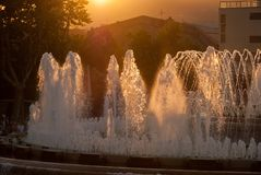 Magic Fountain of Montjuic at sunset. Barcelona. Spain stock image