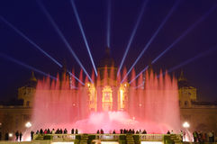 Magic Fountain By Night In Barcelona, Spain Royalty Free Stock Image