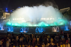 Magic Fountain By Night In Barcelona, Spain Stock Images