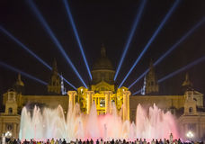 Magic Fountain By Night In Barcelona, Spain Royalty Free Stock Photo