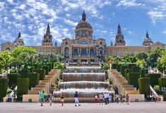 The Magic Fountain and Palau Nacional in Montjuic Royalty Free Stock Photos