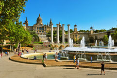 Magic Fountain and Palau Nacional in Montjuic in Barcelona, Spai Royalty Free Stock Image