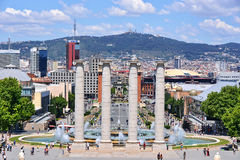 The Magic Fountain and Placa Espanya Royalty Free Stock Images