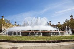 Magic fountain on Plaza de espana in Barcelona. Catalonia. Spain Stock Photography