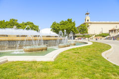 Magic fountain in plaza espana Stock Image