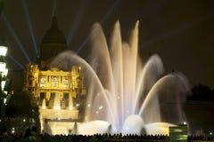 Magic Fountain show 1. Photography of Magic Fountain of Montjuïc night show, Barcelona, Spain Royalty Free Stock Image