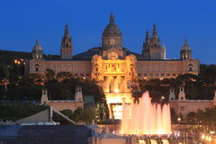 Magic fountain show in Barcelona Stock Photos