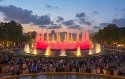 Magic fountain show in Barcelona Montjuic hill, Spain royalty free stock photography