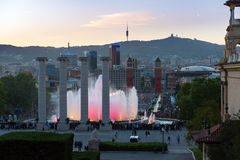 Magic fountain show at Montjuic mount in Barcelona town, Catalonia, Spain. BARCELONA, SPAIN - MAY 2017: Magic fountain show at Montjuic mount in Barcelona town Stock Photo
