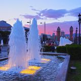 Magic Fountains in Barcelona Stock Images