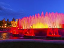 Magic Fountains in Barcelona Stock Photos