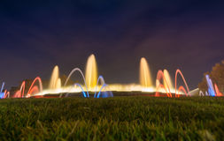 Magic fountains in Barcelona. Magic fountain in Barcelona by the montjuic at night royalty free stock photo