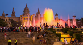 The Magic Fountains in night of Barcelona, Spain Stock Photo