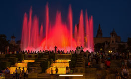 The Magic Fountains in night of Barcelona, Spain Royalty Free Stock Images