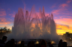 Magic fountains at twilight,Barcelona Royalty Free Stock Photos