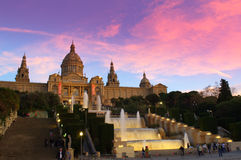 Magic fountains at twilight,Barcelona Stock Images