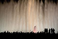 Magic foutain. What a fountain! Magic one in Barcelona, Spain stock photography