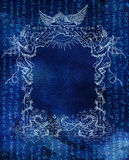 Magic frame with angel, demons and shining symbols on blue Stock Photos