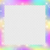 Magic frame with rainbow mesh and space for text. Cute universe banner in princess colors. Fantasy gradient backdrop with hologram. Holographic magic Royalty Free Stock Image