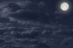 Magic full moon. Full moon in the night sky Stock Image