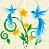 Magic garden. Two blue birds on flowers in magic garden Royalty Free Stock Images
