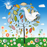 Magic Garden with Abstract Tree - Colorful Flowers. Paper Bird and Blue Sky with Clouds Vector Illustration Royalty Free Stock Images