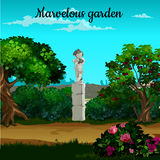 Magic garden with blooming trees, flowers and statue Stock Image