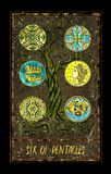 Six of pentacles. Minor Arcana tarot card. The Magic Gate deck. Fantasy graphic illustration with occult magic symbols, gothic and esoteric concept royalty free illustration