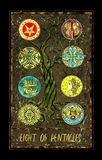 Eight of pentacles. Minor Arcana tarot card. The Magic Gate deck. Fantasy graphic illustration with occult magic symbols, gothic and esoteric concept royalty free illustration