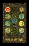 Nine of pentacles. Minor Arcana tarot card. The Magic Gate deck. Fantasy graphic illustration with occult magic symbols, gothic and esoteric concept stock illustration
