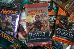 Magic the Gathering Booster packs. Bratislava, Slovakia, circa april 2017: Magic the Gathering Booster packs with Aether Revolt in the front Stock Image