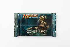 Magic the Gathering Conspiracy Take the Crown booster pack. Bratislava, Slovakia, circa april 2017: Magic the Gathering Conspiracy Take the Crown booster pack royalty free stock photos