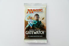 Magic the Gathering Oath of the Gatewatch booster pack. Bratislava, Slovakia, circa april 2017: Magic the Gathering Oath of the Gatewatch booster pack Royalty Free Stock Photos