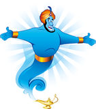 Magic genie granting the wish. Illustration of Magic Genie Appear from Magic Lamp stock illustration