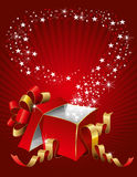 Magic gift box. Vector editable illustration of magic gift box, open and luminous Stock Images