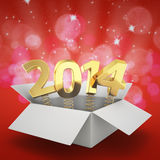 Magic 2014. Gift box with golden digits 2014 on the glittering red background stock illustration