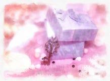 Magic gift box and a key Stock Photos