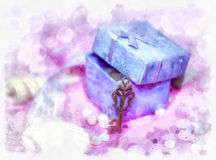 Magic gift box and a key Royalty Free Stock Photo