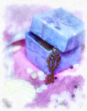 Magic gift box and a key Royalty Free Stock Photos