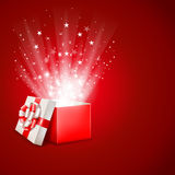 Magic gift box. Open magic gift box with shine Stock Images