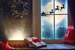 Magic gift box on the sill Royalty Free Stock Photography