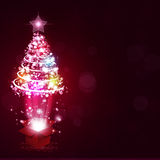 Magic Gift with Xmas Tree Royalty Free Stock Images