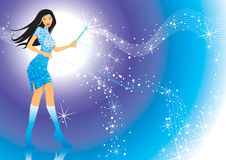 Magic Girl. Modern girl and her magic wand, vector illustration layers file royalty free illustration