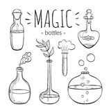Magic glass bottles set. Hand drawn bottles  on white background. Doodle collection. Magic glass bottles Royalty Free Stock Photo